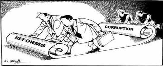 stock illustration corruption reforms