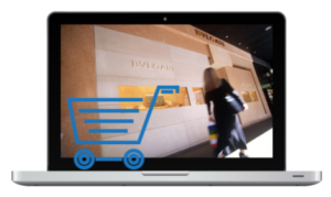 stock graphic laptop with shopping cart icon
