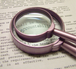 stock graphic magnifying glass over word accountability