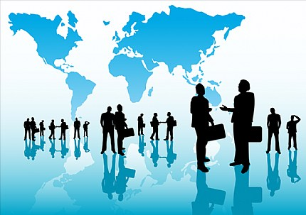 stock illustration people figures in front of global map