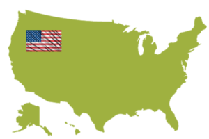 stock photo america flag on outline of country