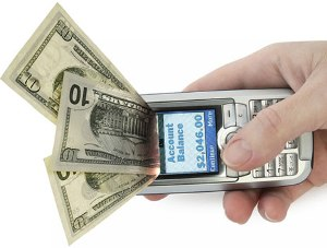 stock photo mobile phone money coming out of screen