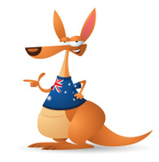 illustration cartoon kangaroo wearing tshirt with Australia flag