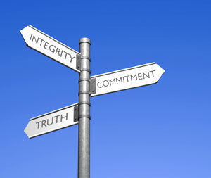 stock photo 3 direction signpost integrity commitment truth