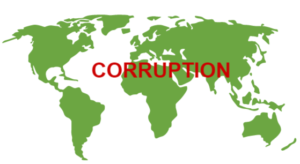 graphic world map with word corruption in red on top