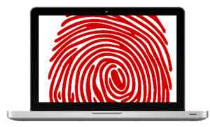 graphic concept red fingerprint on laptop screen