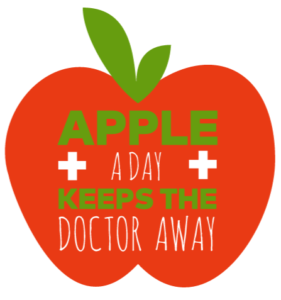 illustration apple shape with words apple a day keeps the doctor away
