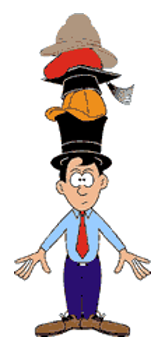 illustration man with different role hats on head