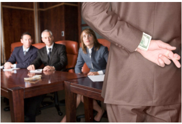 stock photo business meeting man with money up sleeve hidden