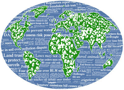 stock illustration globe continents newspaper headlines in water