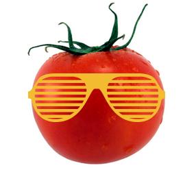 stock photo tomato wearing yellow sunglasses