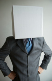 stock photo man wearing white box on head