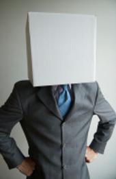 stock photo man wearing white box on head
