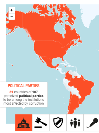 illustration north and south america politcal parties corruption