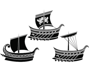 stock graphic greek ships