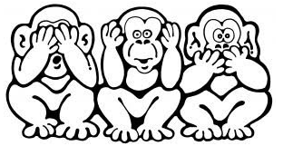 illustration see hear speak no evil monkeys