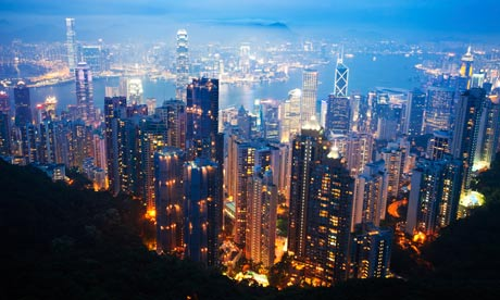 stock photo aerial view hong kong