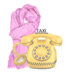 stock photo taxi-styled phone with pink scarf