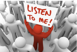 stock graphic conceptual person in crowd holding sign listen to me