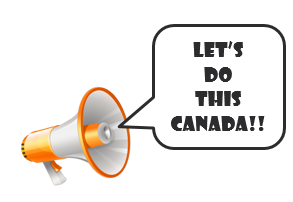 illustration megaphone words let's do this canada
