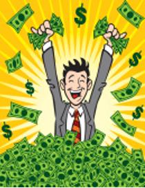 illustration man in pile of money celebrating