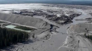 photo aerial view mount polley mine tailings pond