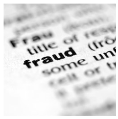 stock graphic closeup focus on fraud in dictionary