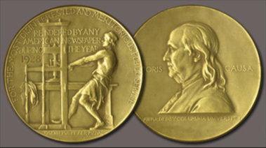 photo two sides of pulitzer prize medal