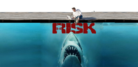 stock photo concept shark risk