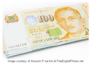 stock graphic singapore paper money