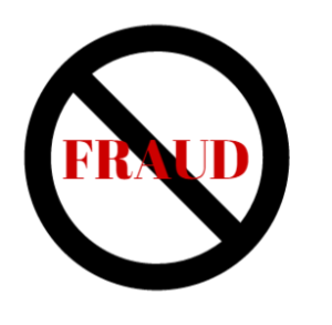 universal symbol for no over word fraud