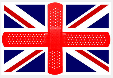 united kingdom flag with bandaids in middle