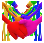 stock graphic rainbow figures holding hands