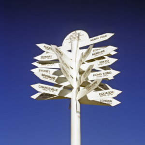 stock photo large signpost with destinations