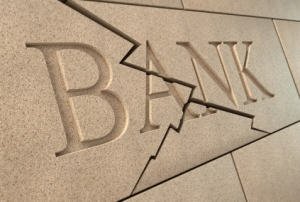 stock graphic word bank carved in cracked stone
