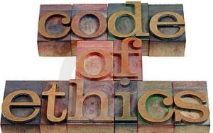 stock photo concept code of ethics words wood letters