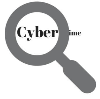 illustration magnifying glass over word cyber