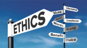 stock photo signpost ethics benefit morals