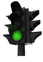 stock photo traffic light on green