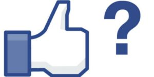 illustration facebook thumb up like icon with question mark
