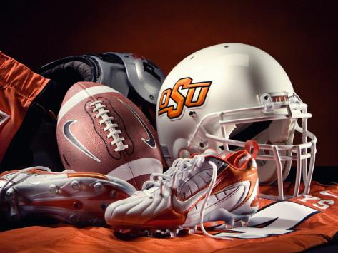 stock photo football helmet shoe oklahoma state university
