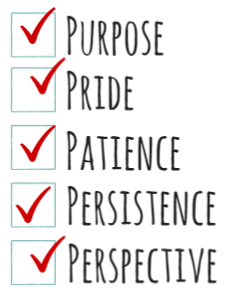 stock graphic check boxes for pride purpose patience persistence and prejudice