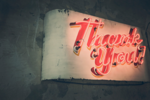 stock graphic neon sign thank you